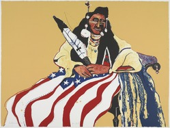 Fritz Scholder (American and Luiseño, 1937-2005). <em>Bicentennial Indian</em>, 1975. Lithograph, 22 x 30 in. (55.9 x 76.2 cm) unframed. Brooklyn Museum, Gift of Lorillard, 76.77.12. © artist or artist's estate (Photo: , 76.77.12_PS9.jpg)