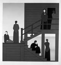 Will Barnet (American, 1911-2012). <em>Waiting</em>. Lighograph/silkscreen (eleven colors) Brooklyn Museum, Gift of Lorillard, 76.77.1. © artist or artist's estate (Photo: Brooklyn Museum, 76.77.1_bw.jpg)