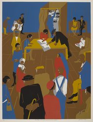 Jacob Lawrence (American, 1917-2000). <em>The '20's...The Migrants Cast Their Ballots</em>, 1974. Screenprint, Sheet: 34 1/8 x 27 5/8 in. (86.7 x 70.2 cm). Brooklyn Museum, Gift of Lorillard, 76.77.8. © artist or artist's estate (Photo: , 76.77.8_PS9.jpg)