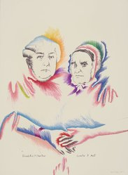 Marisol (Marisol Escobar) (Venezuelan, born France, 1930-2016). <em>Woman's Equality</em>, 1975. Lithograph on paper, sheet: 41 1/2 x 29 3/4 in. (105.4 x 75.6 cm). Brooklyn Museum, Gift of Lorillard, 76.77.9. © artist or artist's estate (Photo: Brooklyn Museum, 76.77.9.jpg)