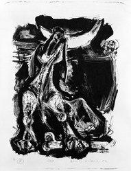 Romas Viesulas (American, born Lithuania, 1918-1986). <em>Dog</em>, 1952. Lithograph on paper, sheet: 17 7/8 x 13 in. (45.4 x 33 cm). Brooklyn Museum, Gift of Mr. and Mrs. Kestutis Pliuskonis, 77.112.25. © artist or artist's estate (Photo: Brooklyn Museum, 77.112.25_bw.jpg)