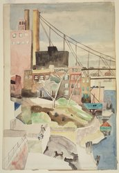Marguerite Thompson Zorach (American, 1887-1968). <em>Manhattan Landscape with View of the Queensboro Bridge - Brooklyn Landscape</em>, ca. 1937. Watercolor and graphite on off white, moderately thick, slightly textured wove paper, 21 7/8 x 15 1/8 in. (55.6 x 38.4 cm). Brooklyn Museum, Gift of Professor and Mrs. Sidney Hook, 77.147. © artist or artist's estate (Photo: Brooklyn Museum, 77.147.jpg)