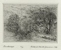 Richard Claude Ziemann (American, born 1932). <em>Landscape</em>, 1968. Etching on paper, sheet: 8 3/4 x 8 9/16 in. (22.2 x 21.7 cm). Brooklyn Museum, Gift of the artist, 77.162.1. © artist or artist's estate (Photo: Brooklyn Museum, 77.162.1_PS4.jpg)