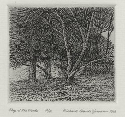 Richard Claude Ziemann (American, born 1932). <em>Edge of the Woods</em>, 1968. Etching on paper, sheet: 8 3/4 x 8 9/16 in. (22.2 x 21.7 cm). Brooklyn Museum, Gift of the artist, 77.162.2. © artist or artist's estate (Photo: Brooklyn Museum, 77.162.2_PS4.jpg)