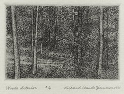 Richard Claude Ziemann (American, born 1932). <em>Woods Interior</em>, 1971. Etching on paper, sheet: 8 3/4 x 8 9/16 in. (22.2 x 21.7 cm). Brooklyn Museum, Gift of the artist, 77.162.3. © artist or artist's estate (Photo: Brooklyn Museum, 77.162.3_PS4.jpg)