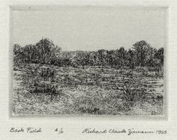 Richard Claude Ziemann (American, born 1932). <em>Back Field</em>, 1969. Etching on paper, sheet: 8 3/4 x 8 7/8 in. (22.2 x 22.6 cm). Brooklyn Museum, Gift of the artist, 77.162.5. © artist or artist's estate (Photo: Brooklyn Museum, 77.162.5_PS4.jpg)