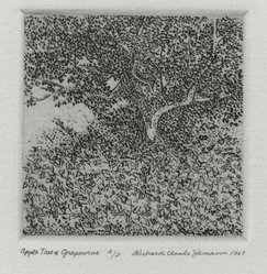 Richard Claude Ziemann (American, born 1932). <em>Apple Tree and Grapevine</em>, 1967. Etching on paper, sheet: 8 3/4 x 8 1/2 in. (22.2 x 21.6 cm). Brooklyn Museum, Gift of the artist, 77.162.6. © artist or artist's estate (Photo: Brooklyn Museum, 77.162.6_PS4.jpg)