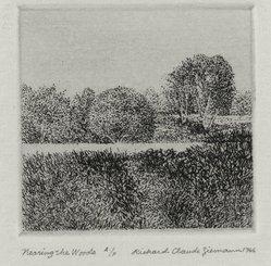 Richard Claude Ziemann (American, born 1932). <em>Nearing the Woods</em>, 1966. Etching on paper, sheet: 8 3/4 x 8 9/16 in. (22.2 x 21.7 cm). Brooklyn Museum, Gift of the artist, 77.162.7. © artist or artist's estate (Photo: Brooklyn Museum, 77.162.7_PS4.jpg)