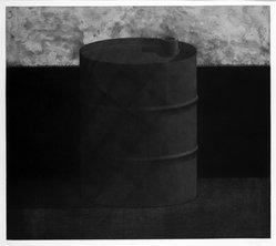 Edward Shalala (American, born 1949). <em>Oil Landscape</em>, 1974. Mezzotint & soft-ground on paper, sheet: 22 3/8 x 29 7/8 in. (56.8 x 75.9 cm). Brooklyn Museum, Designated Purchase Fund, 77.165.2. © artist or artist's estate (Photo: Brooklyn Museum, 77.165.2_bw.jpg)