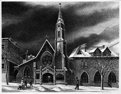 Ernest Fiene (American, 1894-1965). <em>St. Michael's in Brooklyn</em>, 1947. Lithograph on wove paper, 9 1/2 x 12 3/16 in. (24.1 x 31 cm). Brooklyn Museum, Designated Purchase Fund, 77.170.1. © artist or artist's estate (Photo: Brooklyn Museum, 77.170.1_bw.jpg)