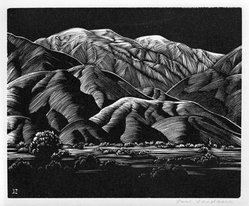 Paul Landacre (American, 1893-1963). <em>Baldy</em>, 1932. Wood engraving, Sheet: 4 3/4 x 5 9/16 in. (12.1 x 14.1 cm). Brooklyn Museum, Designated Purchase Fund, 77.172.1. © artist or artist's estate (Photo: Brooklyn Museum, 77.172.1_bw.jpg)