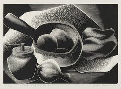 Paul Landacre (American, 1893-1963). <em>Some Ingredients</em>, 1953-1954. Wood engraving, Sheet: 8 1/4 x 9 3/8 in. (21 x 23.8 cm). Brooklyn Museum, Designated Purchase Fund, 77.172.2a-b. © artist or artist's estate (Photo: Brooklyn Museum, 77.172.2_PS2.jpg)