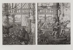 Mark A. Leithauser (American, born 1950). <em>Horological Fascination</em>, 1974. Etching and engraving on paper, sheet: 11 3/8 x 16 1/4 in. (28.9 x 41.3 cm). Brooklyn Museum, Designated Purchase Fund, 77.19.1. © artist or artist's estate (Photo: Brooklyn Museum, 77.19.1_PS4.jpg)