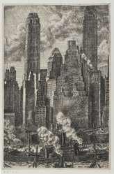 Reginald Marsh (American, 1898-1954). <em>Wall Street</em>, 1931. Etching with black ink on off-white, heavy weight, slightly textured wove paper, Sheet: 15 9/16 x 13 in. (39.5 x 33 cm). Brooklyn Museum, Gift of Associated American Artists, 77.223. © artist or artist's estate (Photo: Brooklyn Museum, 77.223_PS2.jpg)
