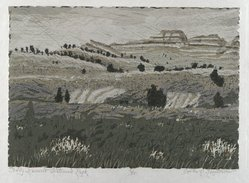 Gordon Mortensen (American, born 1938). <em>Teddy Roosevelt National Park</em>, 1971. Reduction woodcut on paper, sheet: 14 3/4 x 20 1/2 in. (37.5 x 52.1 cm). Brooklyn Museum, Gift of Stephen Foster, 77.224.11. © artist or artist's estate (Photo: Brooklyn Museum, 77.224.11_PS4.jpg)