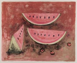 Rufino Tamayo (Mexican, 1899-1991). <em>Watermelon</em>, 1952. Lithograph on paper, sheet: 19 3/4 x 25 9/16 in. (50.2 x 64.9 cm). Brooklyn Museum, Gift of Mr. and Mrs. Carl L. Selden, 77.228.2. © artist or artist's estate (Photo: Brooklyn Museum, 77.228.2_PS4.jpg)
