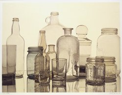 Richard Davis (American, born 1947). <em>Bottles</em>, 1976. Silkscreen in color, Image: 22 1/4 x 28 7/8 in. (56.5 x 73.3 cm). Brooklyn Museum, Designated Purchase Fund, 77.230.1. © artist or artist's estate (Photo: Brooklyn Museum, 77.230.1_transpc002.jpg)