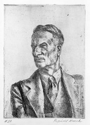 Reginald Marsh (American, 1898-1954). <em>Kenneth Hayes Miller (Portrait)</em>, 1931; printed 1934. Etching Brooklyn Museum, Designated Purchase Fund, 77.232.2. © artist or artist's estate (Photo: Brooklyn Museum, 77.232.2_bw.jpg)