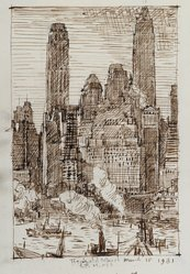 Reginald Marsh (American, 1898-1954). <em>Wall Street</em>, March 18, 1931. Brown ink with graphite underdrawing on cream, medium weight, slightly textured wove paper, Sheet: 9 x 6 7/16 in. (22.9 x 16.4 cm). Brooklyn Museum, Designated Purchase Fund, 77.232.3. © artist or artist's estate (Photo: Brooklyn Museum, 77.232.3_PS2.jpg)