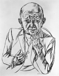 Max Beckmann (German, 1884-1950). <em>Portrait of Dr. Weidner (Bildnis Dr. Weidner)</em>, 1921. Lithograph on wove paper, Image: 21 x 16 in. (53.3 x 40.6 cm). Brooklyn Museum, Designated Purchase Fund, 77.236.5. © artist or artist's estate (Photo: Brooklyn Museum, 77.236.5_bw.jpg)