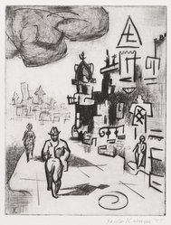 Jacob Kainen (American, 1909-2001). <em>Pedestrians</em>, 1955. Drypoint, Sheet: 10 15/16 x 8 11/16 in. (27.8 x 22.1 cm). Brooklyn Museum, Gift of Mrs. B. S. Cole, 77.63.1. © artist or artist's estate (Photo: Brooklyn Museum, 77.63.1_PS4.jpg)