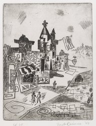 Jacob Kainen (American, 1909-2001). <em>The Avenue</em>, 1948. Etching, Sheet: 13 1/8 x 10 in. (33.3 x 25.4 cm). Brooklyn Museum, Gift of Mrs. B. S. Cole, 77.63.3. © artist or artist's estate (Photo: Brooklyn Museum, 77.63.3_PS4.jpg)