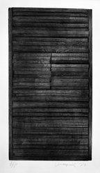 Tony Vanderperk (American, 1944). <em>Untitled</em>, 1974. Wood intaglio on paper, sheet: 30 x 22 1/4 in. (76.2 x 56.5 cm). Brooklyn Museum, Gift of the artist, 77.75.1. © artist or artist's estate (Photo: Brooklyn Museum, 77.75.1_bw.jpg)