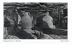 John DePol (American, 1913-2004). <em>Factory District - Belfast</em>, 1977. Wood engraving, Sheet: 8 1/2 x 11 in. (21.6 x 27.9 cm). Brooklyn Museum, Gift of Don Wesely, 78.101.59.1. © artist or artist's estate (Photo: Brooklyn Museum, 78.101.59.1_PS2.jpg)