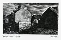 John DePol (American, 1913-2004). <em>Chimney Repair - Belfast</em>, 1977. Wood engraving, Sheet: 8 1/2 x 11 in. (21.6 x 27.9 cm). Brooklyn Museum, Gift of Don Wesely, 78.101.59.2. © artist or artist's estate (Photo: Brooklyn Museum, 78.101.59.2_PS2.jpg)