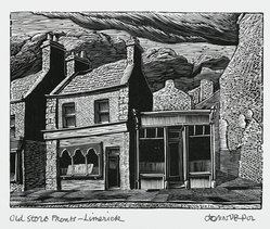 John DePol (American, 1913-2004). <em>Old Store Fronts - Limerick</em>, 1977. Wood engraving, Sheet: 8 1/2 x 11 in. (21.6 x 27.9 cm). Brooklyn Museum, Gift of Don Wesely, 78.101.59.4. © artist or artist's estate (Photo: Brooklyn Museum, 78.101.59.4_PS2.jpg)