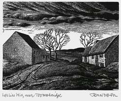 John DePol (American, 1913-2004). <em>Leslies Hill, Near Toombridge</em>, 1977. Wood engraving, Sheet: 11 x 8 1/2 in. (27.9 x 21.6 cm). Brooklyn Museum, Gift of Don Wesely, 78.101.59.6. © artist or artist's estate (Photo: Brooklyn Museum, 78.101.59.6_PS2.jpg)