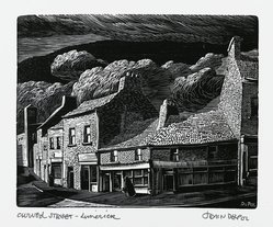 John DePol (American, 1913-2004). <em>Curved Street Limerick</em>, 1977. Wood engraving, Sheet: 11 x 8 1/2 in. (27.9 x 21.6 cm). Brooklyn Museum, Gift of Don Wesely, 78.101.59.7. © artist or artist's estate (Photo: Brooklyn Museum, 78.101.59.7_PS2.jpg)