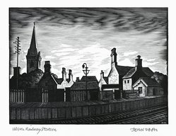 John DePol (American, 1913-2004). <em>Ulster Railway Station</em>, 1977. Wood engraving, Sheet: 11 x 8 1/2 in. (27.9 x 21.6 cm). Brooklyn Museum, Gift of Don Wesely, 78.101.59.8. © artist or artist's estate (Photo: Brooklyn Museum, 78.101.59.8_PS2.jpg)