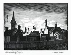John DePol (American, 1913-2004). <em>Ulster Railway Station</em>, 1977. Wood engraving, Sheet: 11 x 8 1/2 in. (27.9 x 21.6 cm). Brooklyn Museum, Gift of Don Wesely, 78.101.59.8. © artist or artist's estate (Photo: Brooklyn Museum, 78.101.59.8_PS2.jpg)