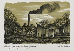 John DePol (American, 1913-2004). <em>Early Refinery in Pennsylvania</em>, 1959. Wood engraving, Sheet: 10 15/16 x 8 7/16 in. (27.8 x 21.4 cm). Brooklyn Museum, Gift of Don Wesely, 78.101.60.2. © artist or artist's estate (Photo: Brooklyn Museum, 78.101.60.2_PS2.jpg)