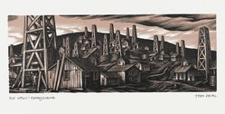 John DePol (American, 1913-2004). <em>Old Wells - Pennsylvania</em>, 1959. Wood engraving, Sheet: 8 7/16 x 10 15/16 in. (21.4 x 27.8 cm). Brooklyn Museum, Gift of Don Wesely, 78.101.60.3. © artist or artist's estate (Photo: Brooklyn Museum, 78.101.60.3_PS2.jpg)