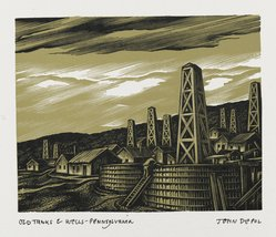 John DePol (American, 1913-2004). <em>Old Tanks and Wells - Pennsylvania</em>, 1959. Wood engraving, Sheet: 10 15/16 x 8 7/16 in. (27.8 x 21.4 cm). Brooklyn Museum, Gift of Don Wesely, 78.101.60.4. © artist or artist's estate (Photo: Brooklyn Museum, 78.101.60.4_PS2.jpg)