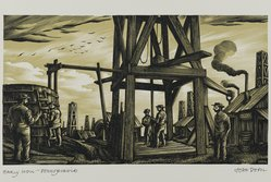 John DePol (American, 1913-2004). <em>Early Well - Pennsylvania</em>, 1959. Wood engraving, Sheet: 8 7/16 x 10 15/16 in. (21.4 x 27.8 cm). Brooklyn Museum, Gift of Don Wesely, 78.101.60.5. © artist or artist's estate (Photo: Brooklyn Museum, 78.101.60.5_PS2.jpg)