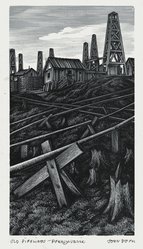 John DePol (American, 1913-2004). <em>Old Pipelines - Pennsylvania</em>, 1959. Wood engraving, Sheet: 10 15/16 x 8 7/16 in. (27.8 x 21.4 cm). Brooklyn Museum, Gift of Don Wesely, 78.101.60.6. © artist or artist's estate (Photo: Brooklyn Museum, 78.101.60.6_PS2.jpg)
