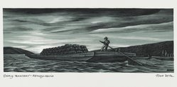 John DePol (American, 1913-2004). <em>Early Transport - Pennsylvania</em>, 1959. Wood engraving, Sheet: 8 7/16 x 10 15/16 in. (21.4 x 27.8 cm). Brooklyn Museum, Gift of Don Wesely, 78.101.60.7. © artist or artist's estate (Photo: Brooklyn Museum, 78.101.60.7_PS2.jpg)