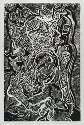 Hilda Katz (American, 1909-1997). <em>St. George #1</em>, 1964. Linocut block print, on white laid paper, Sheet: 20 3/4 x 15 1/2 in. (52.7 x 39.4 cm). Brooklyn Museum, Gift of Hilda Katz, 78.154.11. © artist or artist's estate (Photo: Brooklyn Museum, 78.154.11_PS4.jpg)