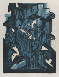 Hilda Katz (American, 1909-1997). <em>The Family</em>, 1953. Linocut on white laid paper, Sheet: 19 x 14 5/8 in. (48.3 x 37.1 cm). Brooklyn Museum, Gift of Hilda Katz, 78.154.13. © artist or artist's estate (Photo: Brooklyn Museum, 78.154.13_PS4.jpg)
