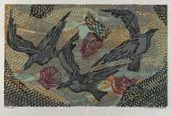 Hilda Katz (American, 1909-1997). <em>Sea Wings and Shells #2</em>, 1959. Linocut on white laid paper, Sheet: 14 1/4 x 19 in. (36.2 x 48.3 cm). Brooklyn Museum, Gift of Hilda Katz, 78.154.14. © artist or artist's estate (Photo: Brooklyn Museum, 78.154.14_PS4.jpg)