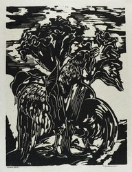 Hilda Katz (American, 1909-1997). <em>Cockscomb</em>, 1963. Linocut on white laid paper, Sheet: 19 1/4 x 14 1/4 in. (48.9 x 36.2 cm). Brooklyn Museum, Gift of Hilda Katz, 78.154.17. © artist or artist's estate (Photo: Brooklyn Museum, 78.154.17_PS4.jpg)