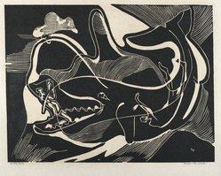Hilda Katz (American, 1909-1997). <em>Jonah and the Whale</em>, 1950. Linocut on white wove paper, Sheet: 14 1/2 x 19 in. (36.8 x 48.3 cm). Brooklyn Museum, Gift of Hilda Katz, 78.154.29. © artist or artist's estate (Photo: Brooklyn Museum, 78.154.29_PS4.jpg)