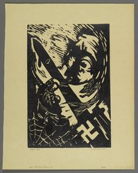 Hilda Katz (American, 1909-1997). <em>Four Freedoms Series (Group of Four): Speech, Want, Religion, and Freedom from Fear</em>, ca. 1945. Linocut on cream wove paper, Sheet (Each print): 13 3/4 x 10 1/8 in. (34.9 x 25.7 cm). Brooklyn Museum, Gift of Hilda Katz, 78.154.30a-d. © artist or artist's estate (Photo: Brooklyn Museum, 78.154.30d_PS4.jpg)