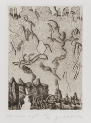 James Crabb (American, born 1947). <em>One Mile Left</em>, 1976. Etching in brown ink Brooklyn Museum, Designated Purchase Fund, 78.166.2. © artist or artist's estate (Photo: Brooklyn Museum, 78.166.2_PS4.jpg)