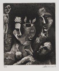 Gary Hansmann (American, born 1940). <em>Goddess of the Plant World</em>, 1975. Etching on aquatint, Sheet: 12 x 11 in. (30.5 x 27.9 cm). Brooklyn Museum, Designated Purchase Fund, 78.167. © artist or artist's estate (Photo: Brooklyn Museum, 78.167_PS4.jpg)