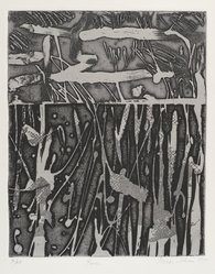 Michi Itami (American, born 1938). <em>Kiua</em>, 1975. Intaglio in color, Sheet: 20 x 14 in. (50.8 x 35.6 cm). Brooklyn Museum, Designated Purchase Fund, 78.169.1. © artist or artist's estate (Photo: Brooklyn Museum, 78.169.1_PS4.jpg)