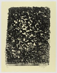Mark Tobey (American, 1890-1976). <em>Black By Yellow</em>, 1973. Lithograph on paper, sheet: 17 1/2 x 14 1/4 in. (44.5 x 36.2 cm). Brooklyn Museum, Gift of Everett Lowe, 78.223.3. © artist or artist's estate (Photo: Brooklyn Museum, 78.223.3_PS4.jpg)